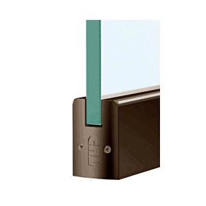"CRL DR2SDU38PL Black Bronze 3/8"" Glass Low Profile Square Door Rail with Lock - 8"" Patch"