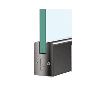 """CRL DR2SBL38PL Black Powder Coated 3/8"""" Glass Low Profile Square Door Rail With Lock - 8"""" Patch"""
