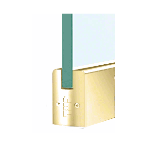 """CRL DR2SPB38PL Polished Brass 3/8"""" Glass Low Profile Square Door Rail With Lock - 8"""" Patch"""