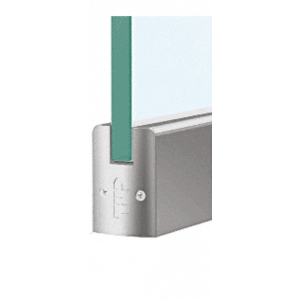 """CRL DR2SSA38P Satin Anodized 3/8"""" Glass Low Profile Square Door Rail Without Lock - 8"""" Patch"""