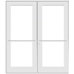 CRL-U.S. Aluminum DC52752 White KYNAR Paint Custom Pair Series 550 Wide Stile Center Pivot Entrance Door for Overhead Concealed Door Closers