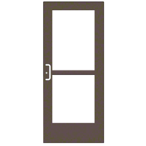 """CRL-U.S. Aluminum CZ52722LA36 Bronze Black Anodized 550 Series Wide Stile Active Leaf of Pair 3'0 x 7'0 Center Hung for OHCC w/Standard Push Bars Complete Panic Door with Std. Panic and 9-1/2"""" Bottom Rail"""