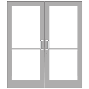 IG500 Series Clear Anodized Class 1 Custom Pair StormFront Butt Hinged Entrance Doors for Surface Mount Door Closers