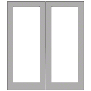 Clear Anodized Custom Size Blank Pair 550 Wide Offset Stile Entrance Doors - No Prep