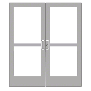 "Clear Anodized Pair 72"" x 84"" Series 400 Medium Stile Center Pivot Entrance Doors With Panics for Overhead Concealed Door Closers"
