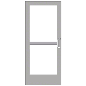 """CRL-U.S. Aluminum CZ42711R136 Clear Anodized 400 Series Medium Stile Inactive Leaf of Pair 3'0 x 7'0 Center Hung for OHCC w/Standard Push Bars Complete Panic Door with Std. Panic and 9-1/2"""" Bottom Rail"""