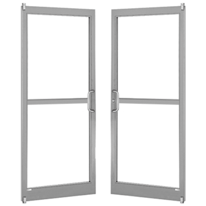 Clear Anodized 250 Series Narrow Stile Pair 6'0 x 7'0 Offset Hung with Pivots for Surf Mount Closer Complete Panic Door with Std. Panic and Bottom Rail