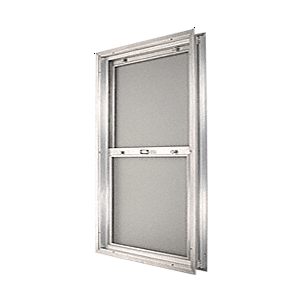 "CRL BAP2840BS Satin Anodized 22-3/4"" x 30-1/8"" Bel-Air ""Plaza"" Combination Door Unit With Obscure Tempered Glass and Mill Frame for 1-3/4"" 2-8 Slab Door"