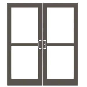 CRL-U.S. Aluminum DZ427220072 Bronze Black Anodized 400 Series Medium Stile Pair 6'0 x 7'0 Center Hung for OHCC w/Standard Push Bars Complete Panic Door with Std. Panic and Bottom Rail