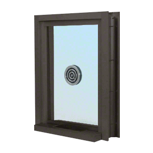 "Dark Bronze 28"" Wide x 38"" High Bullet Resistant Clamp-On Exterior Window With Speak-Thru and Shelf With Deal Tray Protection Level 1"