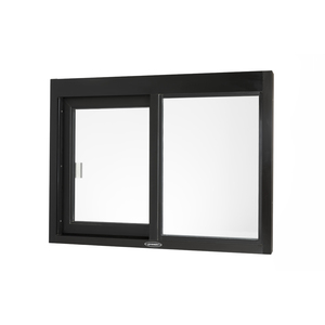 """Brixwell 9045-BR 36-3/8""""(w) x 36-3/8""""(h) 14-1/2"""" (w) x 29""""(h) Self-Closing Side Sliding Transaction Window With 1/4"""" Clear Tempered Glass Right Hand Slide Dark Bronze"""