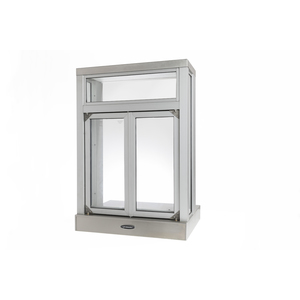 "Brixwell 9521-CX 28-1/8""(w) x 40-3/8""(h) 20""(w) x 18-1/4""(h) Semi Automatic Pass-Thru Window with Bi-Fold Doors Projected Window With Shelving Clear Anodized Aluminum"