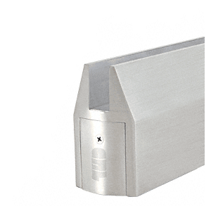 Brushed Stainless CR150 Series Patch Tapered Door Rail Without Lock
