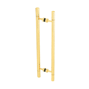 """CRL CT18X18BR Polished Brass 25"""" Overall Length Glass Mounted Back-to-Back Ladder Style Pull Handle with Undercut Accent Rings"""