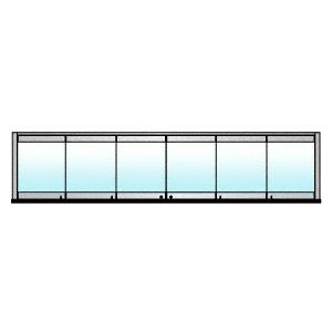 CRL 0TB6BPPS Polished Stainless 6-Panel Bipart Overhead Track Full Bi-Fold Door Configuration