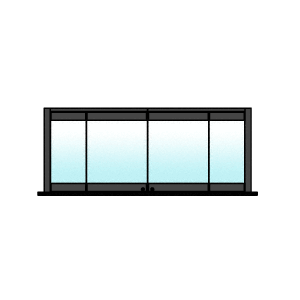 CRL 0TC4BPBL Black Powder Coated 4-Panel Bipart Overhead Track Half Bi-Fold Door Configuration