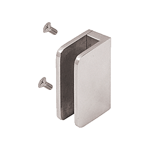 "CRL SA94FBS Brushed Stainless 1/4"" Top Flat Base Glass Clip"