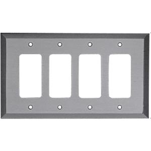 CRL MMP17BN Brushed Nickel Quad Designer Metal Mirror Plate