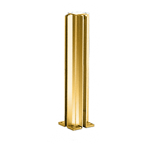 "Brite Gold Anodized 14"" 4-Way Design Series Partition Post"