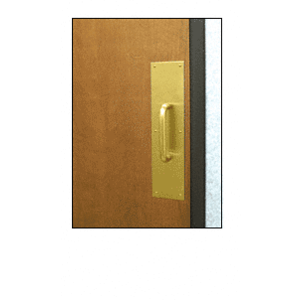 """3/4"""" Diameter Polished Brass 6"""" Pull Handle with 3-1/2"""" x 15"""" Pull Plate"""