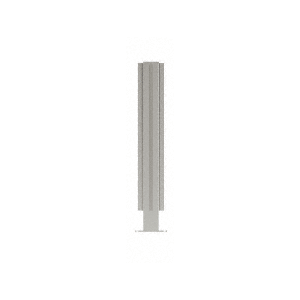 "Brushed Stainless 18"" High 1"" Square PP47 Mini Plaza Series Partition 4-Way Post with U-Channel"