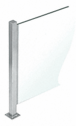 "CRL PP47XBS Brushed Stainless 18"" High 1"" Square PP47 Mini Plaza Series Partition 4-Way Post with U-Channel"