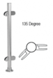 """CRL PP49ABS Brushed Stainless 18"""" x 1"""" PP49 Slimline Series Round Partition 135 Degree Post"""