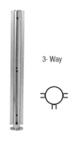 "CRL SBPP08TBS Brushed Stainless 18"" x 1"" SBPP08 Slimline Series Round 3-Way Partition Post"