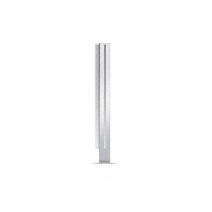 """Polished Stainless 18"""" High 1"""" Square PP47 Mini Plaza Series Partition Corner Post with U-Channel"""