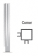 """CRL PP47LPS Polished Stainless 18"""" High 1"""" Square PP47 Mini Plaza Series Partition Corner Post with U-Channel"""