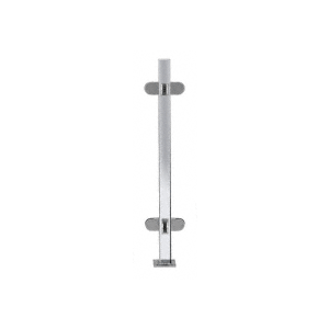 "Polished Stainless 18"" High 1"" Square PP48 Mini Plaza Series Partition 3-Way Post with Mini Z-Clamps"