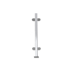 """Polished Stainless 18"""" High 1"""" Square PP48 Mini Plaza Series Partition Center Post with Mini Z-Clamps"""