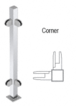 """CRL PP48LPS Polished Stainless 18"""" High 1"""" Square PP48 Mini Plaza Series Partition Corner Post With Mini Z-Clamps"""