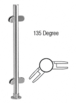 """CRL PP49APS Polished Stainless 18"""" x 1"""" PP49 Slimline Series Round Partition 135 Degree Post"""
