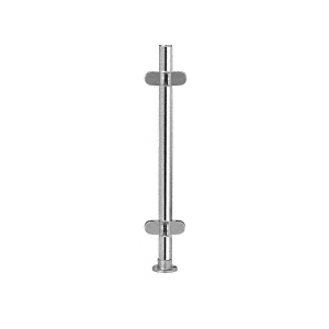 """Polished Stainless 18"""" x 1"""" PP49 Slimline Series Round Partition 4-Way Post"""