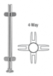 """CRL PP49XPS Polished Stainless 18"""" x 1"""" PP49 Slimline Series Round Partition 4-Way Post"""