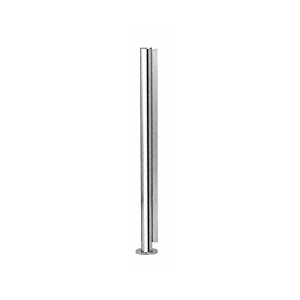 "Polished Stainless 18"" x 1"" SBPP08 Slimline Series Round End Partition Post"