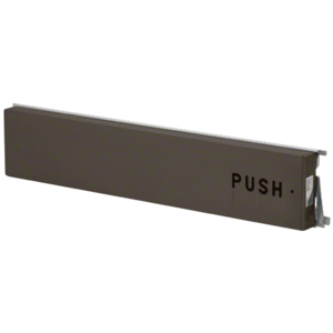 """Model 3185 Mid-Panel Concealed Vertical Rod Exit Device with Top Pullman Latch """"PUSH"""" Engraved on Push Pad Right Hand Reverse Bevel Dark Bronze Finish"""