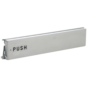 """Model 3186 Mid-Panel Concealed Vertical Rod Exit Device Aluminum Finish Left Hand Reverse Bevel with the Word """"PUSH"""" Engraved on Push Pad"""