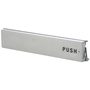 """Model 3186 Mid-Panel Concealed Vertical Rod Exit Device Aluminum Finish Right Hand Reverse Bevel with the word """"PUSH"""" Engraved on Push Pad"""