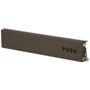 """Model 3186 Mid-Panel Concealed Vertical Rod Exit Device Dark Bronze Finish Right Hand Reverse Bevel with the Word """"PUSH"""" Engraved on Push Pad"""