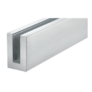 """Mill Aluminum 120"""" B6N Series Standard Square Base Shoe Un-drilled for 5/8"""" Tempered Glass - 12"""" C.T.C."""