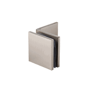 Brushed Nickel Fixed Panel Square Clamp With Large Leg
