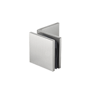 Brushed Satin Chrome Fixed Panel Square Clamp With Large Leg