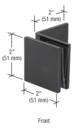 CRL SGC039BL Black Fixed Panel Square Clamp With Large Leg