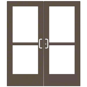 CRL-U.S. Aluminum CZ52722 Bronze Black Anodized Custom Pair Series 550 Wide Stile Center Pivot Entrance Doors With Panics for Overhead Concealed Door Closers