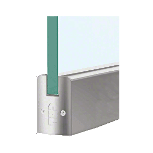"""CRL DR2SBS38PL Brushed Stainless 3/8"""" Glass Low Profile Square Door Rail With Lock - 8"""" Patch"""