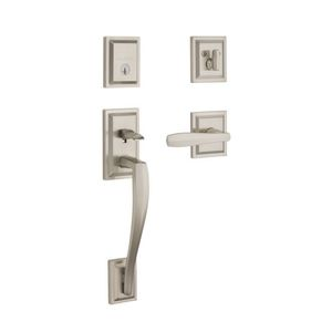 Baldwin Prestige 180TPHXTOLSLB15S Complete Single Cylinder Torrey Pines Sectional Handleset By Torrey Pines Lever and Square Rose with Smart Key Satin Nickel Finish