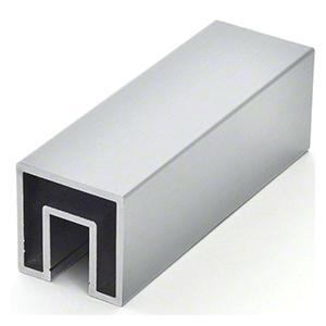 "CRL GRS20M Mill Aluminum 2"" Square Premium Cap Rail for 1/2"" or 5/8"" Glass - 240"" Long"