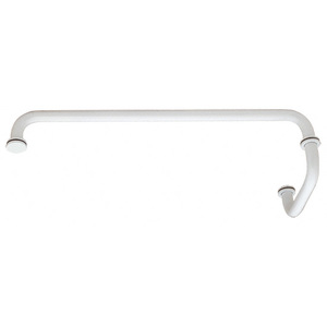 """CRL SDP6TB24W White 24"""" Towel Bar With 6"""" Pull Handle Combination Set"""